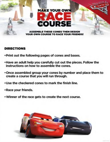 Cars 3 free printables race course