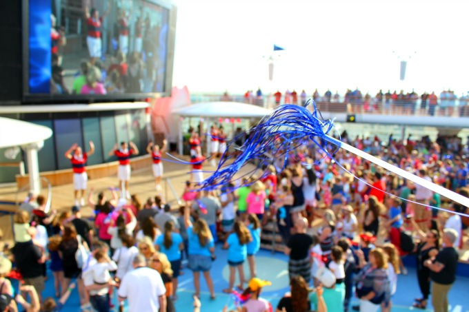 It's a big deck party when the Disney Wonder sets sail