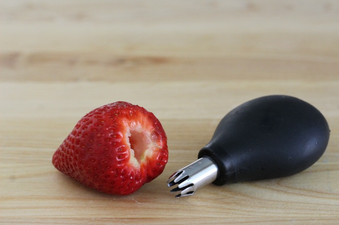 Core the strawberries first
