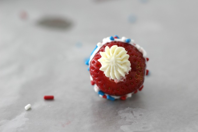 Cream cheese is the secret ingredient in Red White And Blue Strawberries
