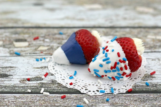Red White And Blue Strawberries make a tasty treat!