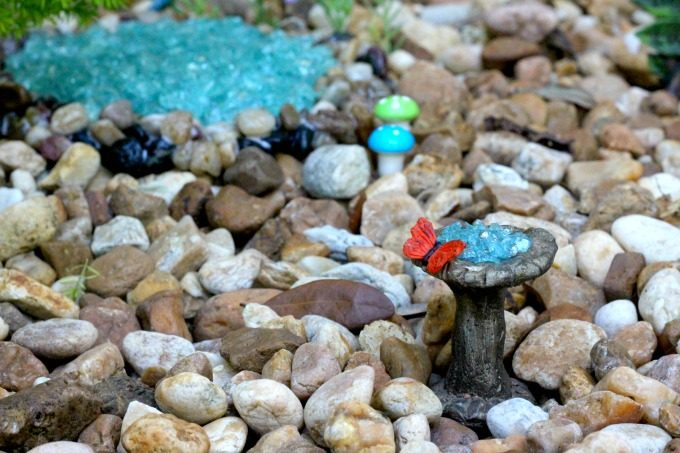 Little things like bird baths add a nice touch to the gnome garden.