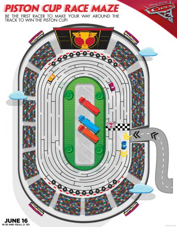 Cars 3 free printables Piston Cup Race Maze