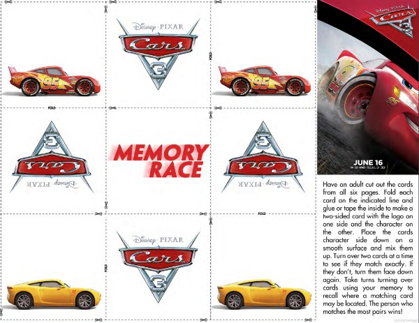 Cars 3 free printables Memory Race game