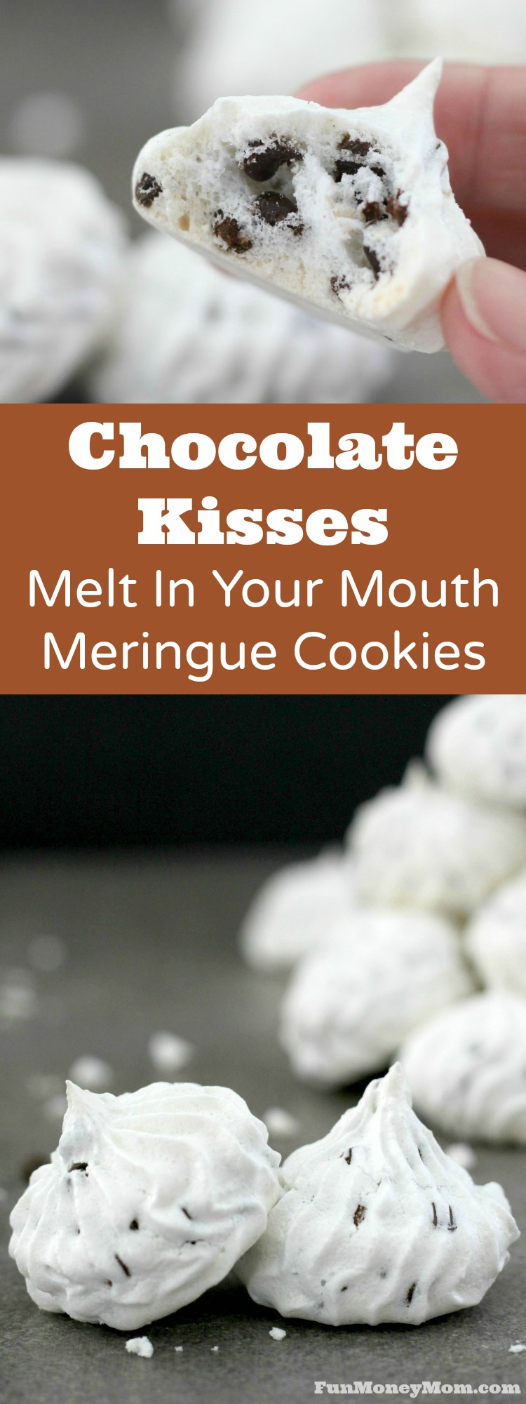 Chocolate Chip Meringue Cookies - Looking for a unique but absolutely delicious meringue cookie recipe? These Chocolate Kisses are melt in your mouth good!