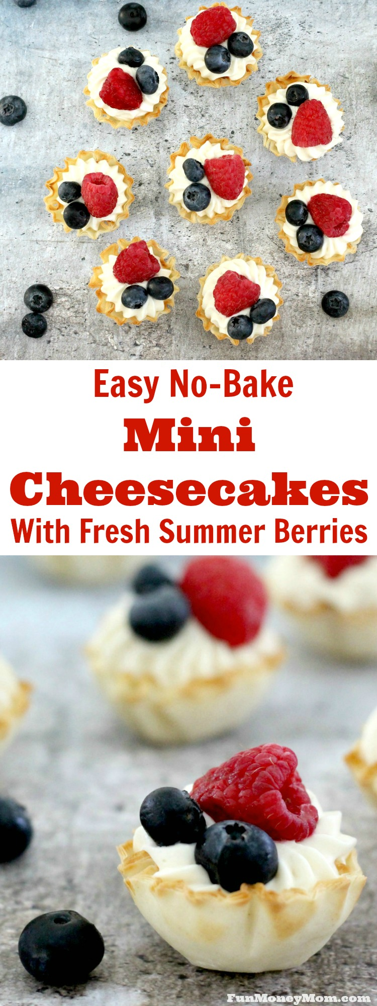 Need a fun but easy to make last minute dessert? Whip up these delicious no bake cheesecake bites with fresh berries in a matter of minutes. It's the perfect party food!