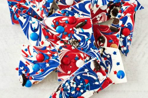 Red White And Blue desserts don't get much better than this chocolate bark