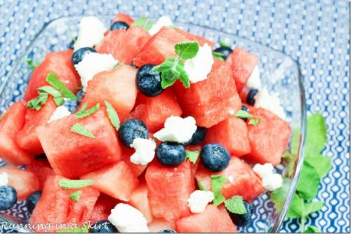 Watermelon, blueberries and feta make one of the healthier 4th of July recipes
