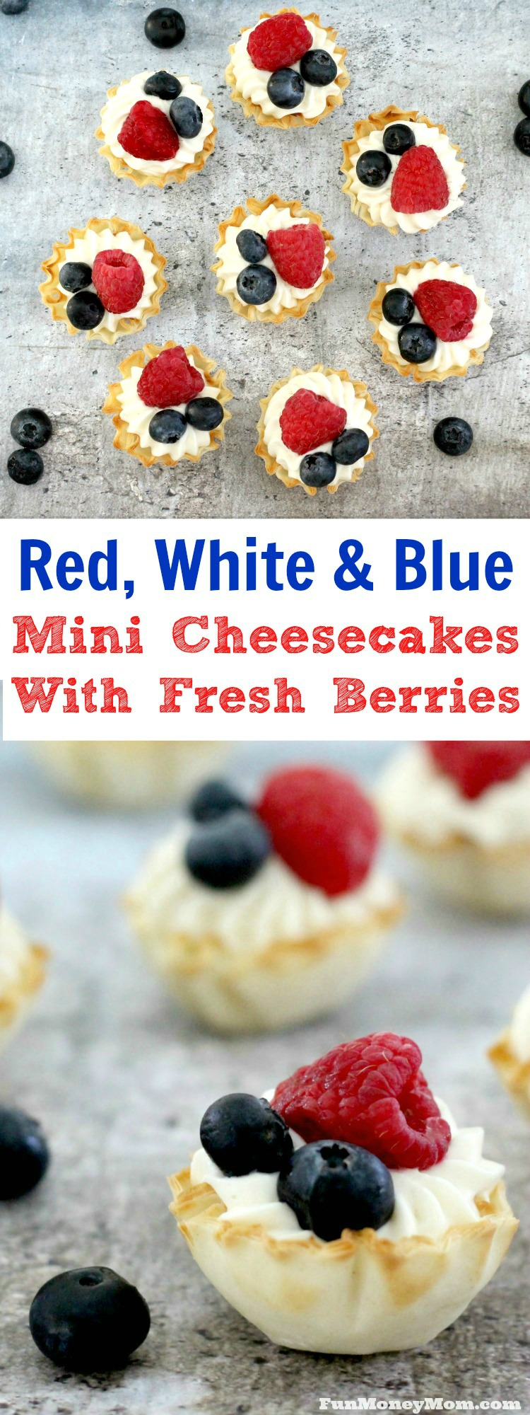 Need a fun but easy to make last minute dessert? Whip up these delicious no bake cheesecake bites with fresh berries in a matter of minutes. It's the perfect party food for summer holidays!