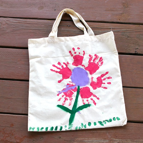 Mother's Day crafts - handprint flower bag