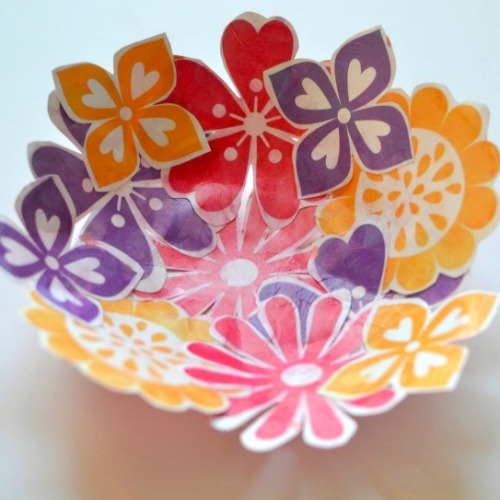 Mother's Day crafts - paper flower bowl