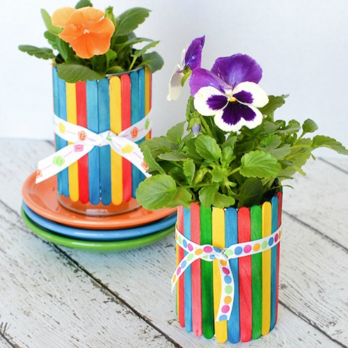 Mother's Day crafts - craft stick flower pots