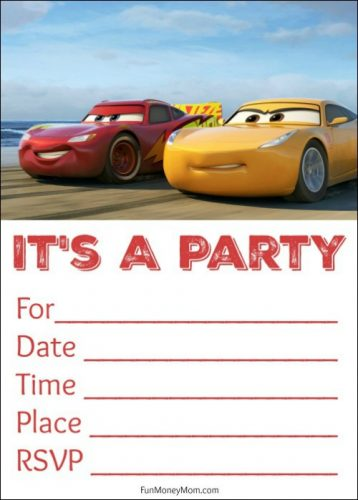 Free Printable Cars 3 Birthday Invitations Fun Money Mom