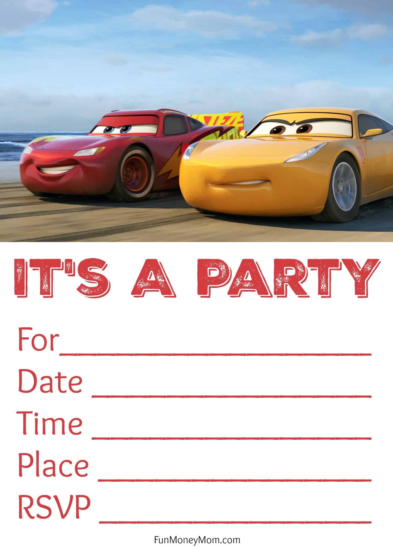 free printable cars birthday invitations