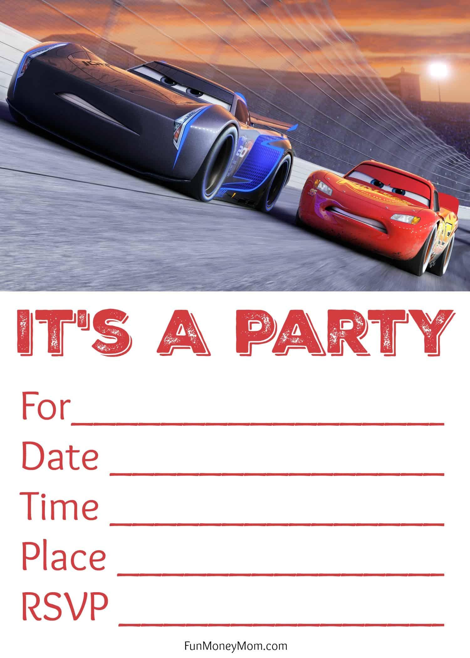 Free Printable Cars 3 Birthday Invitations