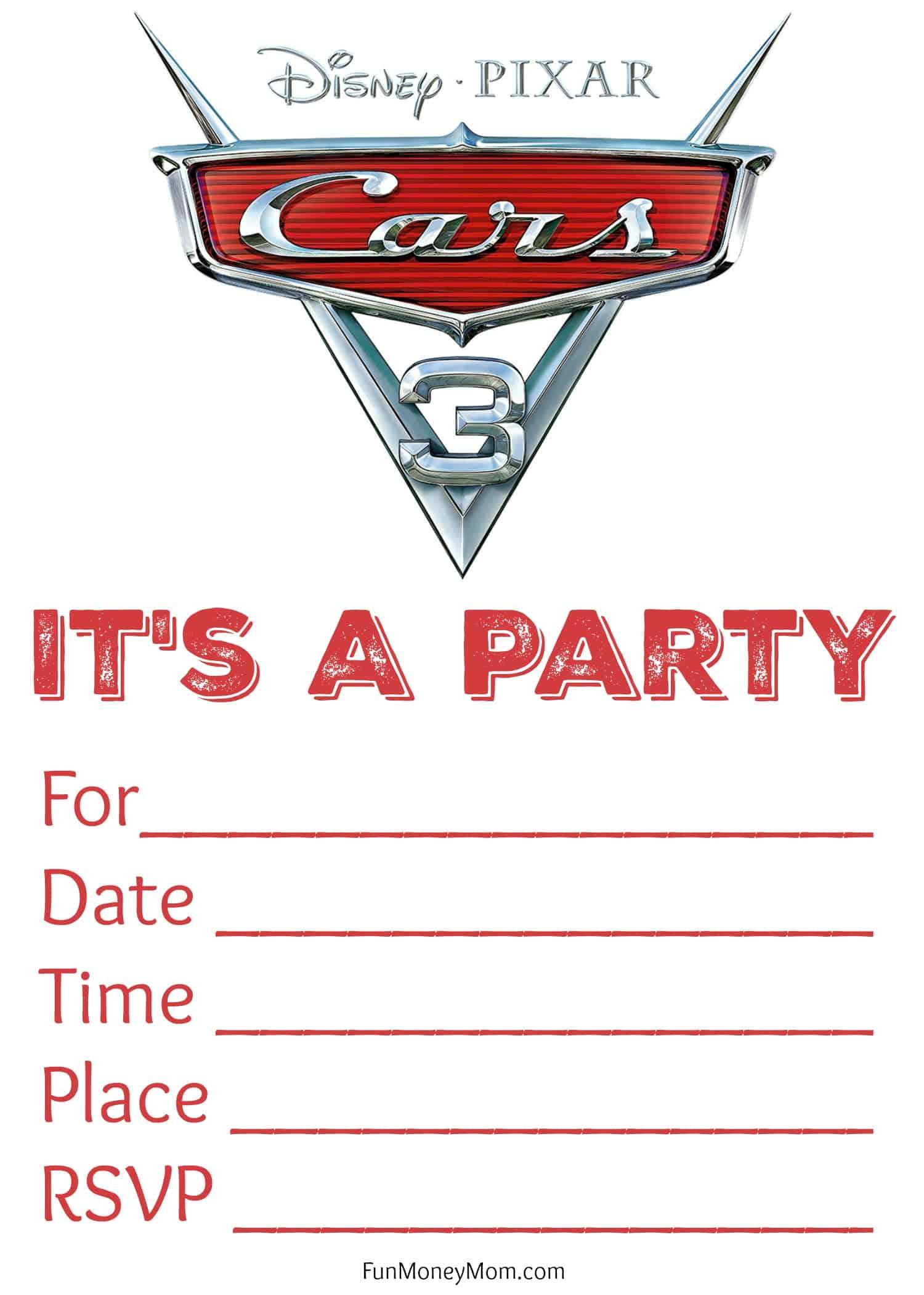 Free Printable Cars 3 Birthday Invitations - Fun Money Mom