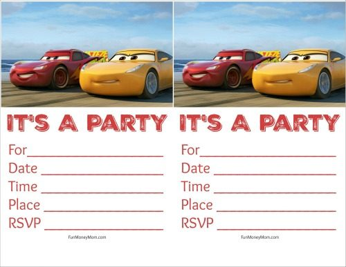 Free Printable Cars Birthday Invitations