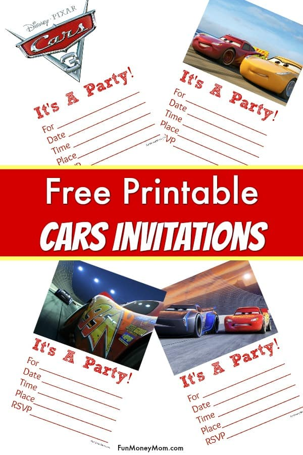 Free printable cars 3 birthday invitations fun money mom printable cars invitations these cars birthday invitations are perfect for any cars themed party filmwisefo