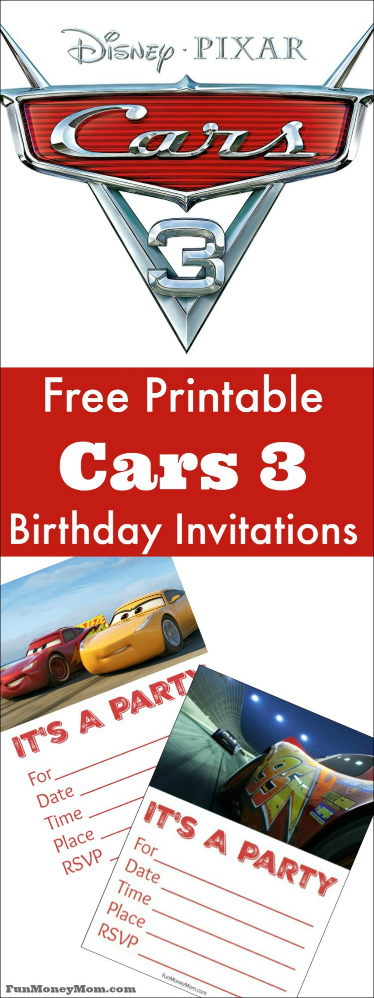 Are your kids begging for a Cars 3 birthday party? Why not start the ball rolling with these free printable Cars 3 birthday invitations.