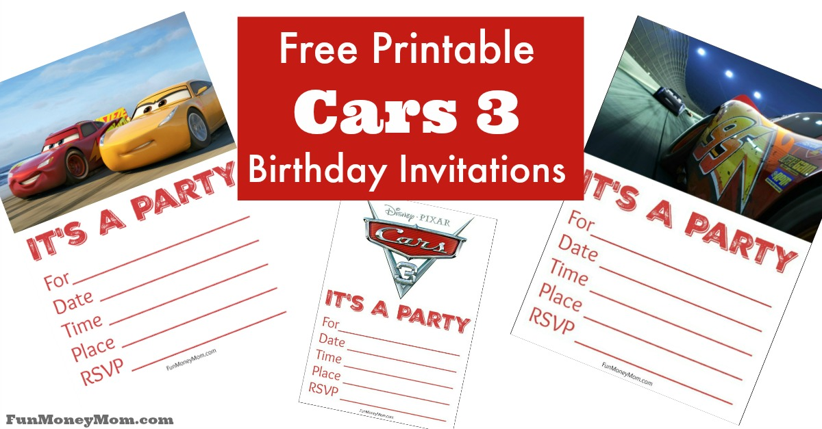 Free Printable Cars 3 Birthday Invitations - Fun Money Mom