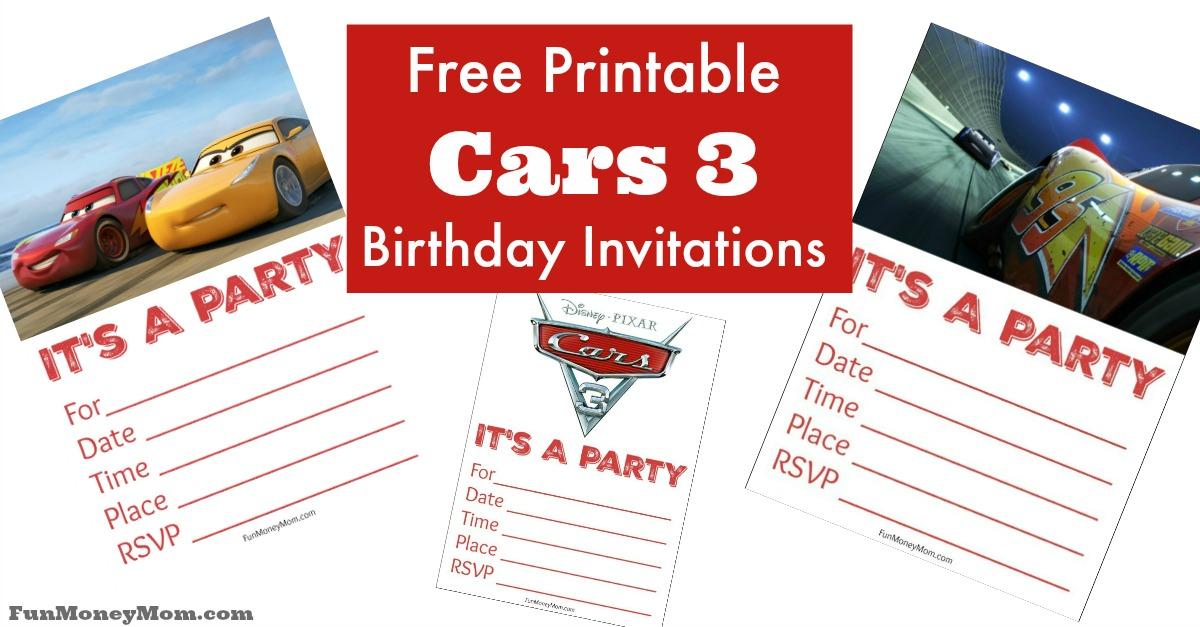 Free Birthday Money ~ Free printable cars birthday invitations fun money mom