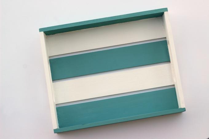 I chose to paint my coastal tray blue and white