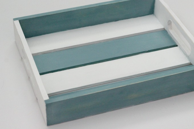 I painted the coastal tray to give it a weathered look