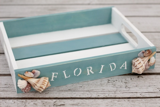 This finished coastal tray cost less than $10