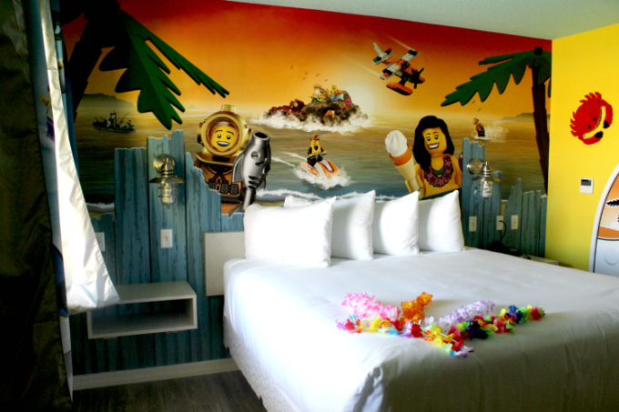 The rooms at the Legoland Beach Retreat are bright and colorful