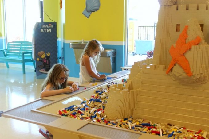 The restaurant at the Legoland Beach Retreat has a table full of Legos to entertain the kids