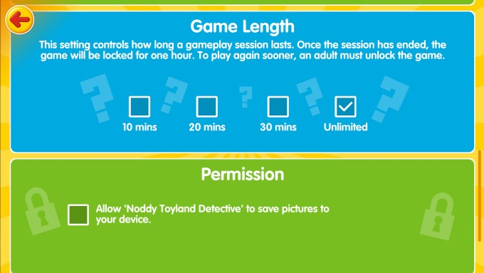 Parents will love that they can control how long their children play the Noddy Toyland Detective app