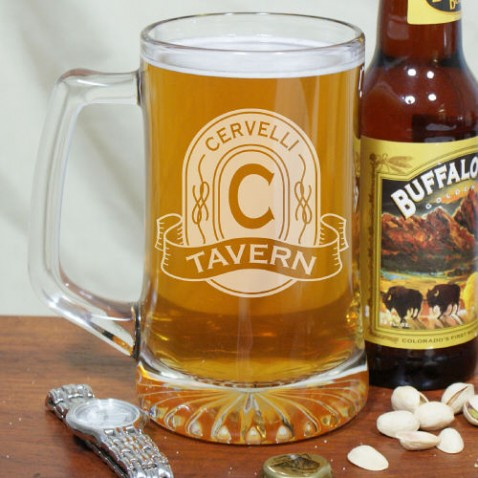 Give your man his own personalized tavern glasses for one of his Father's Day gifts.