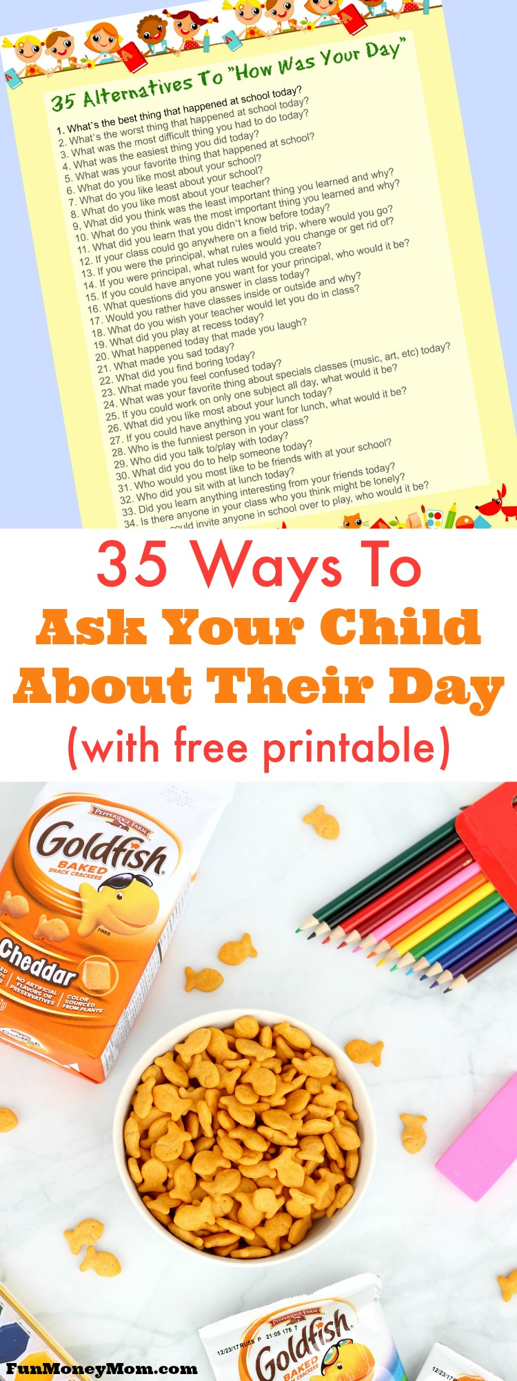 "Do you ask your kids about their day, only to be told it was ""fine"" or that they did ""nothing""? Maybe you just need to rephrase the question. These 35 ways to ask your child about their day will actually get your child talking while you bond over an after school snack. #ad"