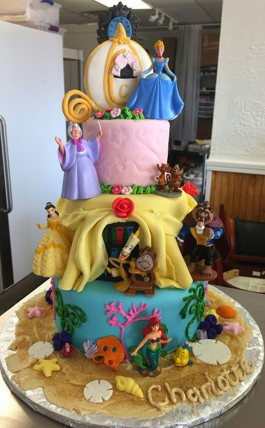 Disney princess cake with Cinderella, Ariel & Belle