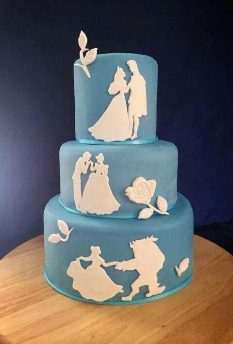 Disney princess cakes silhouettes