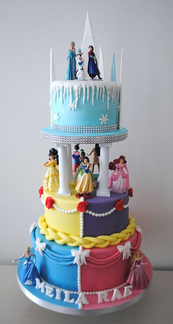 Disney princess cakes with all the princesses