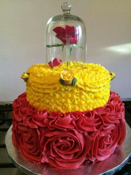 Disney princess cakes with Belle rose