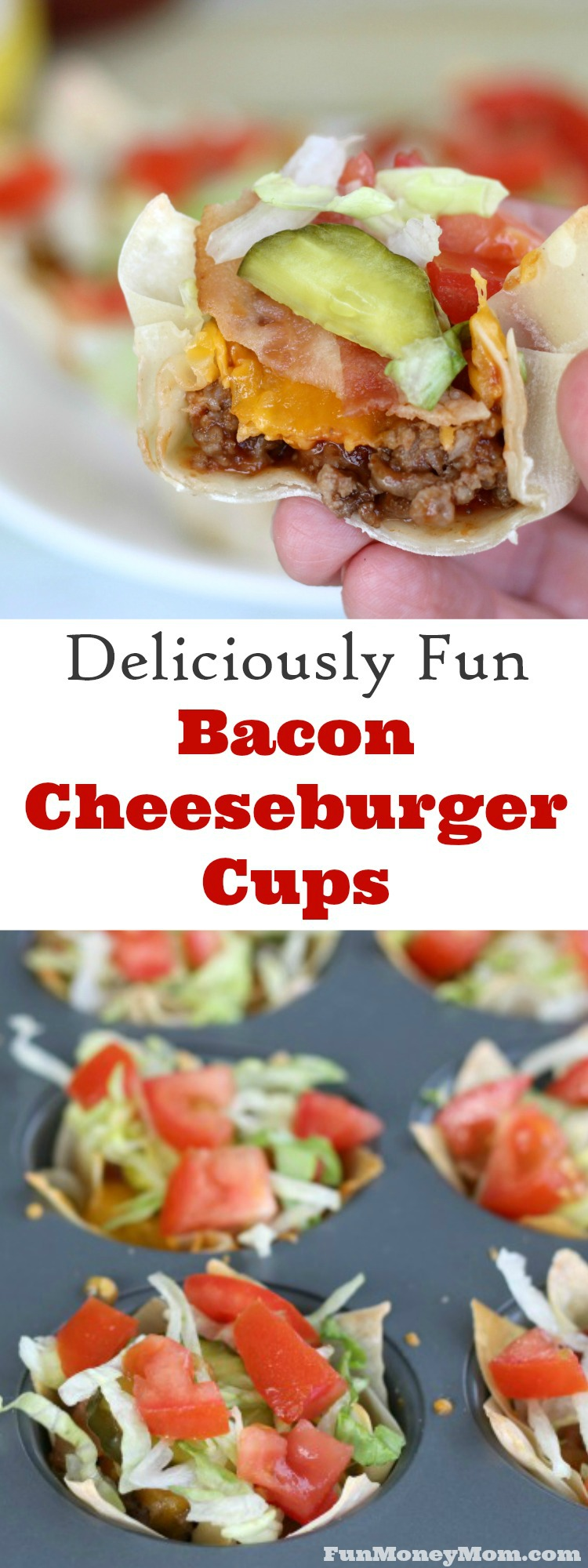 These mini Bacon Cheeseburger Cups are fun and delicious and can be served as a new twist on dinner or a fabulous party food. Either way, they're sure to be a hit!