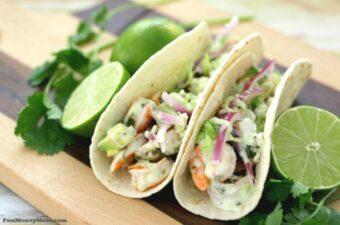 Cilantro lime shrimp tacos feature