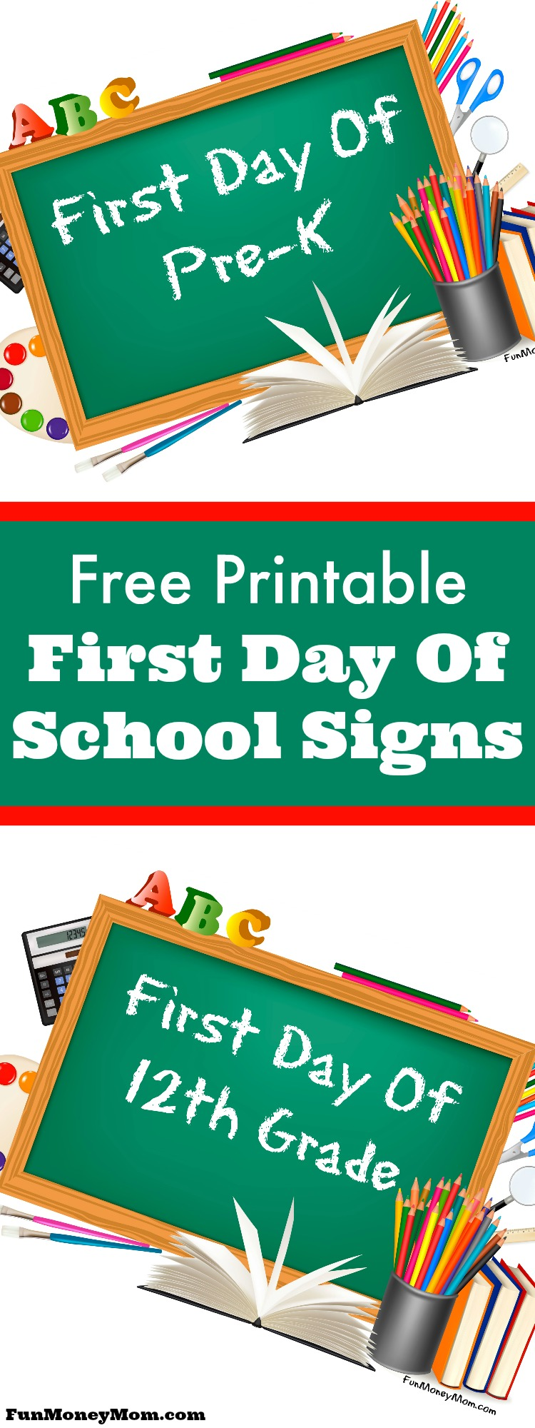 photograph regarding First Day of Pre K Sign Printable referred to as Absolutely free Printable Initially Working day Of College Indications - Entertaining Fiscal Mother