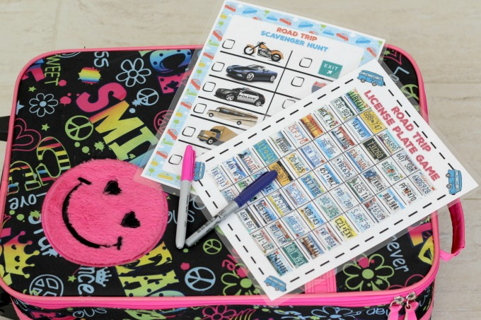 Suitcase with road trip games