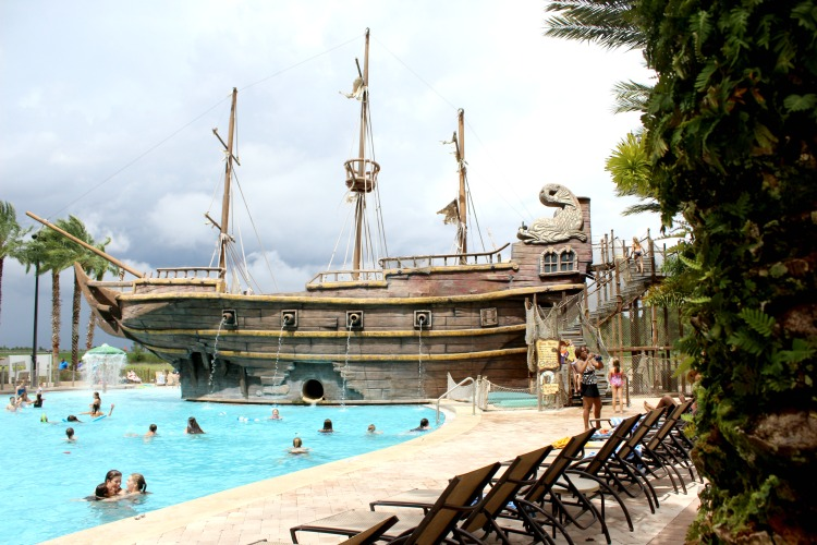 Kids love the giant pirate ship with waterslide.