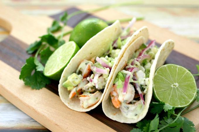 Cilantro lime shrimp tacos ready to eat