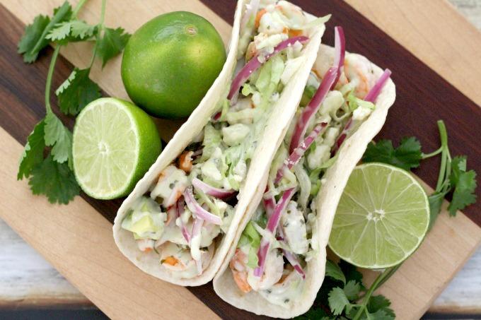 Cilantro lime shrimp tacos overview
