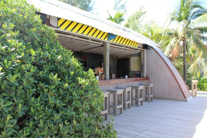 The bar at Castaway Cay resembles an airplane hangar