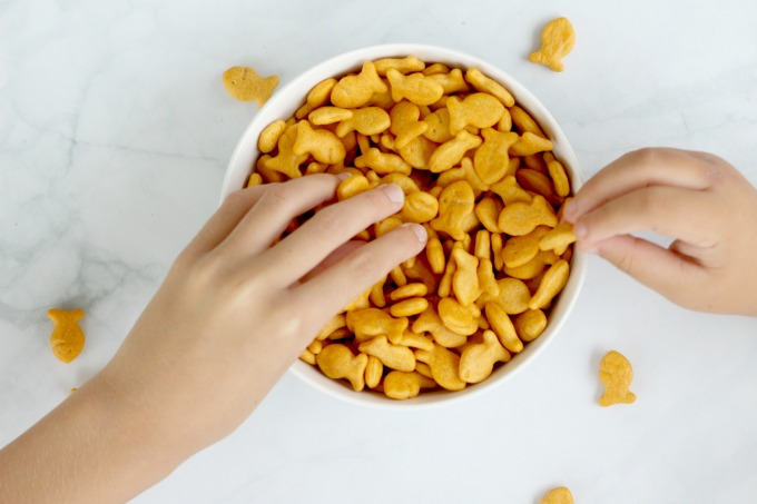 My girls love to dig in to a big bowl of Goldfish for their afternoon snack.