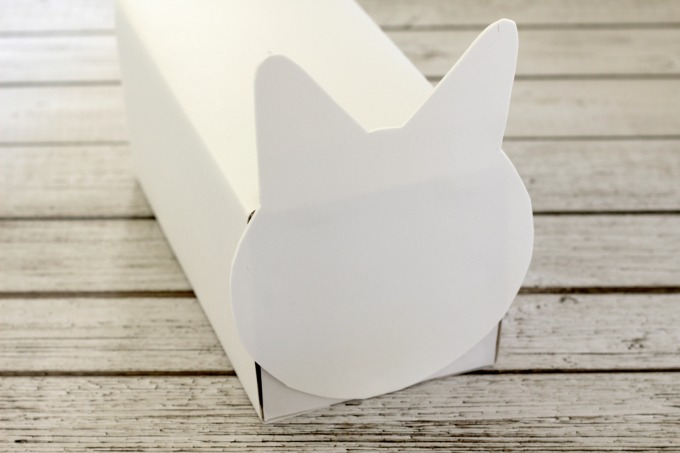 Glue the cat's head to the front of the box