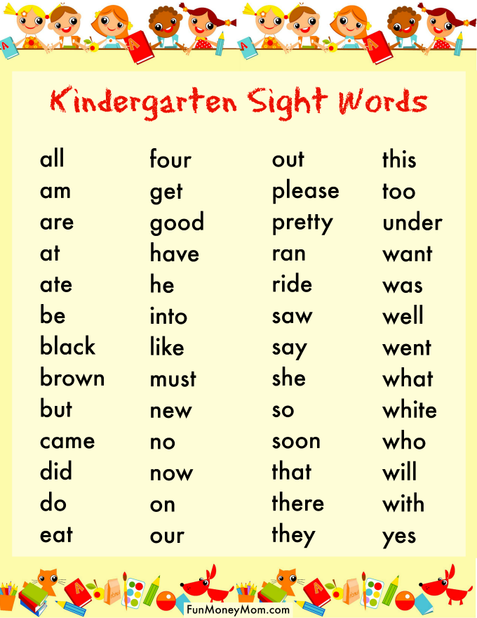 photograph relating to Kindergarten Sight Word List Printable identify How In the direction of Get hold of Your Youngster Geared up For Kindergarten - Exciting Cash Mother