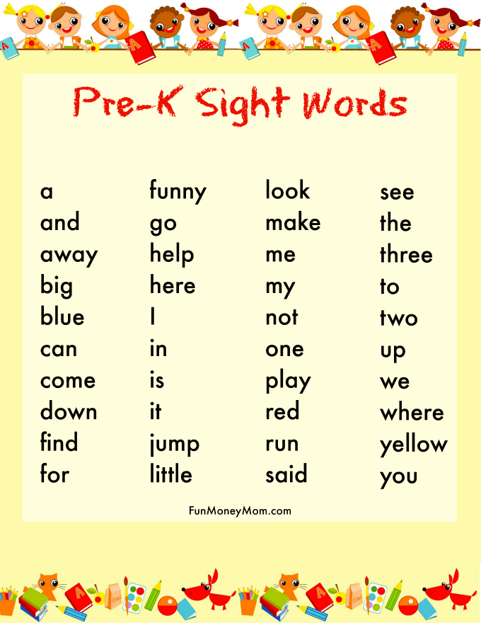 pre-k sight word list