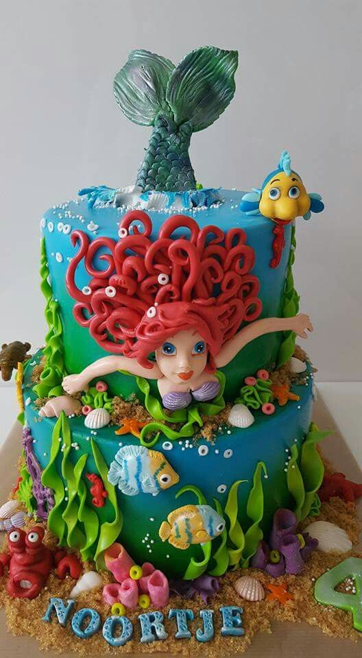 Disney princess cakes with Ariel swimming